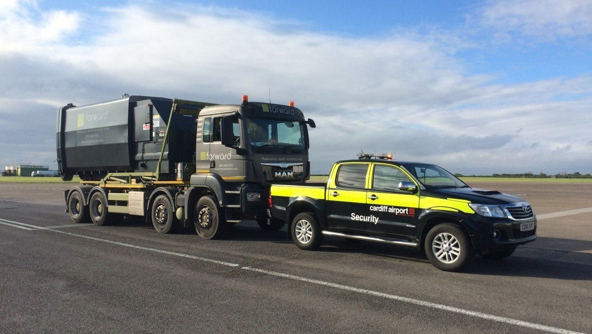Enviroquip manufactured waste compactor lands at Cardiff Airport